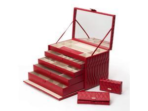 Caroline Jewelry Box with 4 Storage Compartments by Wolf Red