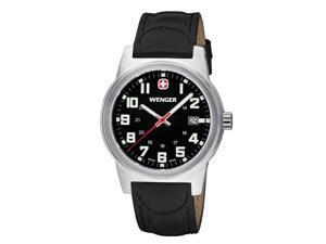 Wenger Men's Classic Field Watch with Leather Bracelet Black/Black