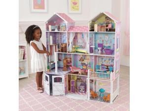 """53"""" Composite Wood and Plastic Country Estate Dollhouse with 11 Rooms and Indoor and Outdoor Doll Furniture"""