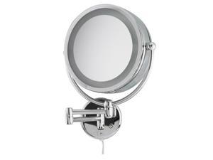 Revolving Lit Wall-Mount Makeup Mirror by Danielle Creations