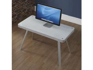 Wooden Tech Computer Desk with Tempered Glass Top and Center Drawer by Bell'O White