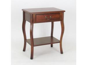Classic Wooden Side Table with Storage Drawer and Shelf