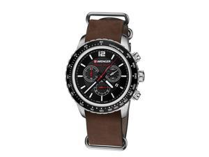 Wenger Roadster Black Night Chronograph Watch with Leather Strap