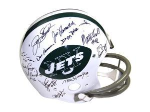 1969 New York Jets Team Signed Authentic '65-'77 Throwback Helmet with 24 Signatures