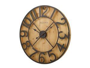Pine Veneer and Battery-Operated Silhouette Wall Clock with Offset Aged Metal Numerals