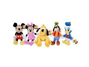 "Disney 9"" Beanbag Plush Stuffed Dolls 5-Pack Mickey Minnie Donald Pluto Goofy"