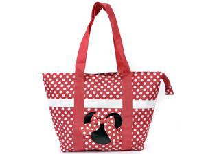 Disney Minnie Mouse Tote Bag Icon Polka Dot Bow Red Large Canvas Shopper Travel