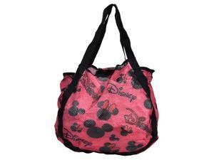 Disney Mickey & Minnie Mouse Pink Icon Print Mesh Hobo Beach Tote Bag
