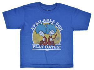 Dr. Seuss Toddlers Thing T-Shirt Available for Playdates Blue Distressed Print