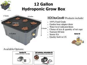12-Gallon H2OtoGro® Hydroponic Bubbler Deep Water Culture Grow System ~ Grow herbs, flowers, fruits and vegetables all year round!