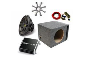 """Kicker 12"""" Comp Sub DXA2501 Amp with Grill,Amp Kit,Ported Enclosure Bundle"""
