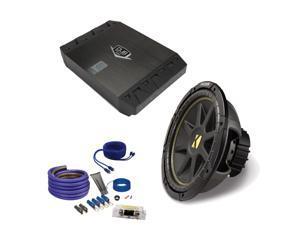 "Kicker 10C104 10"" Comp Subwoofer, Jensen DUBa2100 200 Watt Amp and an Amp wire kit package"