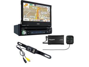 "Jensen VX7012 7"" flip-out Navigation with Sirius XM SXV300V1 Tuner and backup camera"