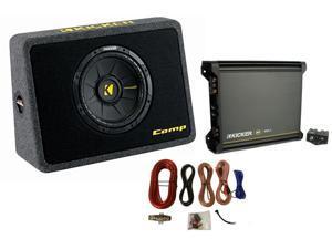 "Kicker 40TCWS104 10"" 600W Car Loaded Subwoofer Sub+Box+Amplifier+ 4 Ga Amp Kit"