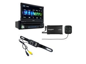 """Jensen VX4012 Single-Din 7"""" flip-out touchscreen receiver with Sirius XM SXV300V1 Tuner and backup Camera"""