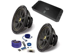 "(2) Kicker 10C104 10"" Comp Subwoofers and a DUBa1450 900 Watt Amp + Amp wire kit Package"