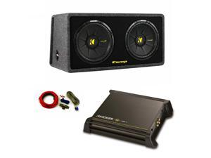 "Kicker  DX250.1 Amp 40DCWS122 12"" Sub Enclosure with Amp Kit Bundle"