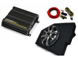 "Kicker for Dodge Ram Quad/Crew Cab 02-15 10"" Kicker CompVT sub in under-seat box w/ grille, 300 Watt amp, and wiring kit"