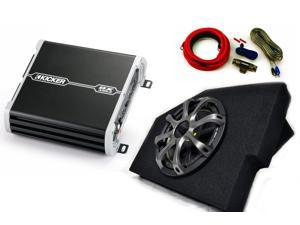 """Kicker for Dodge Ram Quad Cab 02-15 - 10"""" Kicker Comp in under seat Box with Grille, 125 Watt DXA amp, and Wire Kit"""