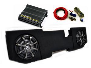 """Kicker for Dodge Ram Quad / Crew Cab 02-15- Dual 10"""" CVT subs in under seat box 600 Watt CX Amp, Grills, Wire Kit"""