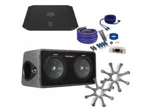 Kicker 40DCWR122 with DUB 1000 watt amp protective grilles and amp wiring kit