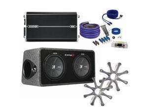 "Kicker CompR Dual 12"" package with Kicker DXA1500.1 1500 watt monoblock, grilles, and wiring kit."