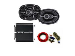 Kicker DS 6x9 Speaker package with Kicker DX 125 watt 2-channel amplifier and wiring kit.