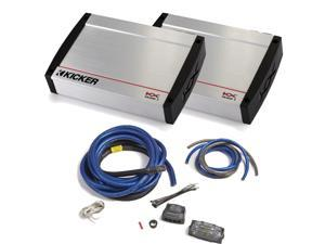 Kicker KX Amplifier package - Two Kicker KX-Series 1600 Watt Class-D Monoblock Amplifier 40KX16001 & 1/0 gauge amp kit
