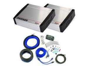 Kicker KX Amplifier package - Two Kicker KX 800 Watt Class-D Monoblock Amplifiers and Kicker 4-gauge wiring kit