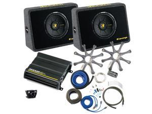 """Kicker Bass package - Two 10"""" CompS in ported truck boxes with CX600.1 amplifier, wiring kit, grilles, and bass knob."""
