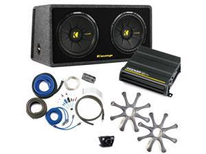 "Kicker Bass package - Dual 12"" CompS in a ported box with CX600.1 amplifier, wiring kit, grilles, and bass knob."