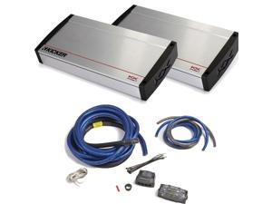 Kicker KX Amplifier package - Two Kicker KX-Series 2400 Watt Monoblock Amplifiers and 1/0 gauge dual-amp wiring kit