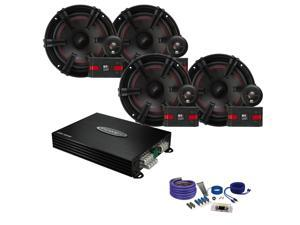 "MB Quart XC1-216 6.5"" Component Speakers, Jensen POWER400X4 Amp and Amp kit"