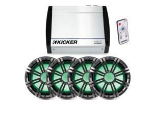Kicker 1200 Watt Marine Bass Bundle KXM1200 amplifier (4) KMW10 LED woofers with light controller