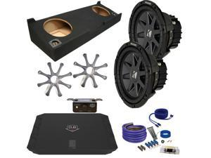"Kicker for GMC 07-13 Sierra Crew Cab CVR102 10"" Truck Bundle with DUBA11000D 1100 Watt Amplifier + Enclosure + Wire Kit"