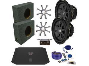 """Kicker CVR102 10"""" Truck Bundle with DUBA11000D 1100 Watt Amplifier + Enclosure + Wire Kit"""