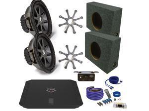 """Kicker CVR122 12"""" Truck Bundle with DUBA11000D 1100 Watt Amplifier + Enclosure + Wire Kit"""