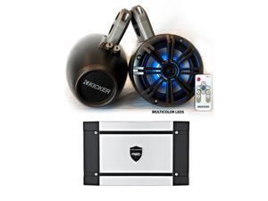 """Kicker Marine Wake Tower System w/ Charcoal 6.5"""" LED Speakers, LED Remote and Wet Sounds HT-4 400 Watt Marine Amp"""