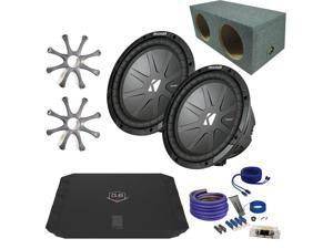 "Kicker CWR102 10"" Bundle with DUBA1100D 1100 Watt Amplifier + Enclosure + Wire Kit+Grills"