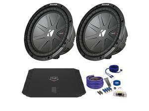 "Kicker CwR104 10"" Bundle with DUBA1100D 1100 Watt Amplifier + Wire Kit"
