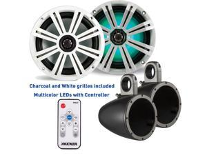 Kicker 8 Inch KM-Series Marine Speaker Bundle 41KM84LCW with Black Wake Tower Enclosures and LED Remote