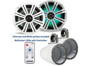 Kicker 8 Inch KM-Series Marine Speaker Bundle 41KM84LCW with White Wake Tower Enclosures and LED Remote