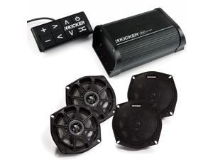 """Kicker Powersport Package - PXiBT50 Bluetooth amplifier with control panel and 4 Kicker 5.25"""" Powersport speakers"""