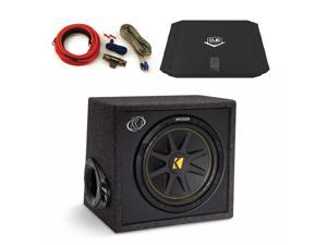 "Kicker 10VC124 12"" Ported Comp Enclosure, Jensen DUBa2100 200 Watt Amp and an Amp wire kit package"
