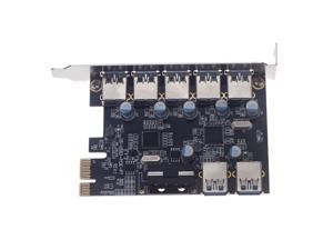 7 Port Superspeed USB 3.0 2 Internal PCI-e PCI Express Expansion Card with 5V 4 Pin Power Connector for Desktops