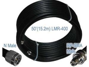 Times Microwave LMR-400 Ultra Low Loss Antenna Coaxial Cable, WiFi, Router, Radio - N Male and RP-SMA Male - (50 FT)