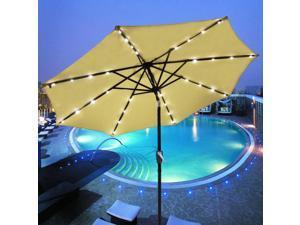 9' Outdoor Patio Aluminium Umbrella 32 Solar Powered LED Crank Tilt UV30+ 180g Cover Top Beach Deck Beige