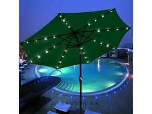 9' Outdoor Patio Aluminium Umbrella w/ 32 LED Solar & Crank Tilt UV30+ 180g Green