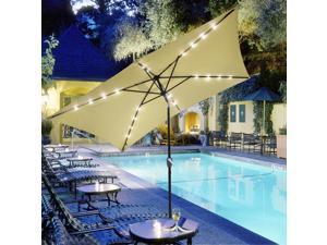 10x6.5' ft Patio Umbrella w/ Solar Powered LED Light Tilt Garden Market Beach