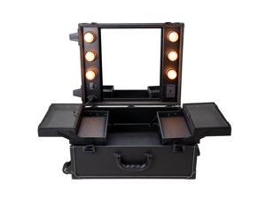 Rolling Studio Makeup Artist PVC Cosmetic Case w/ Light Mirror Black Train Table